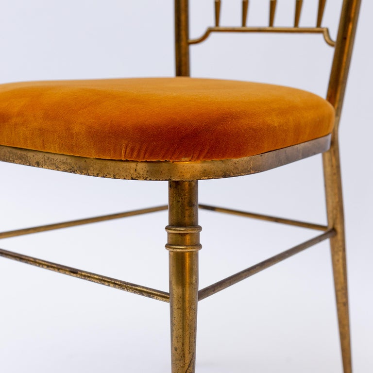 Italian Brass Dining Chair from Descalzi Giuseppe Gaetano, 1960s For Sale 5