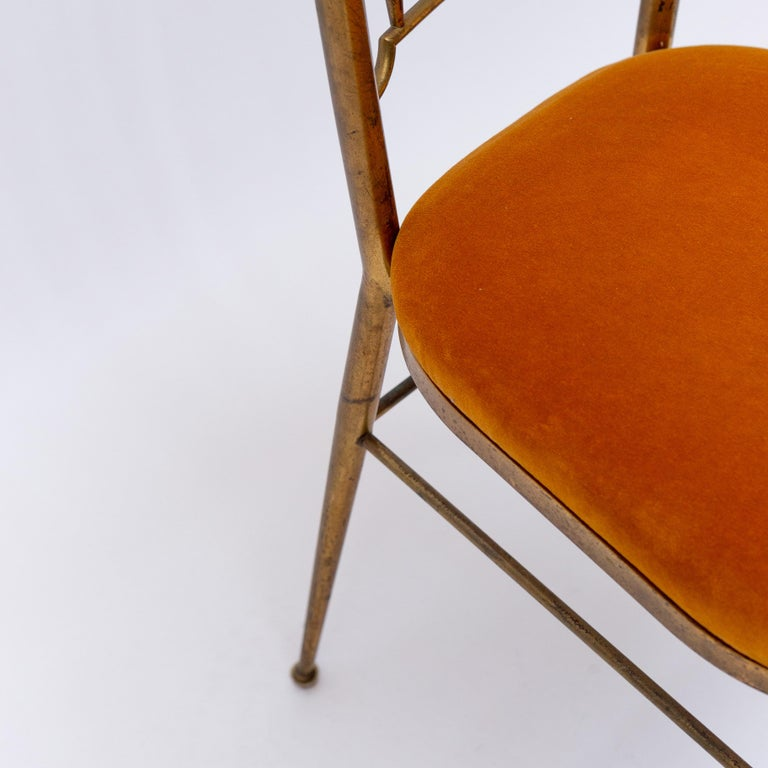 Italian Brass Dining Chair from Descalzi Giuseppe Gaetano, 1960s For Sale 7