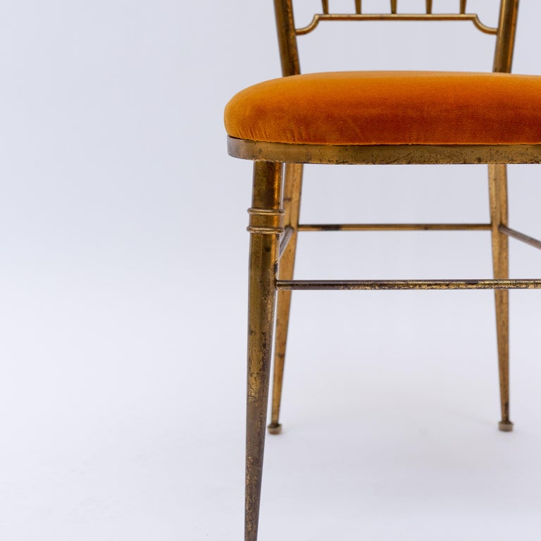 Italian Brass Dining Chair from Descalzi Giuseppe Gaetano, 1960s For Sale 4