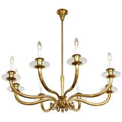 Italian Brass Eight-Light Chandelier