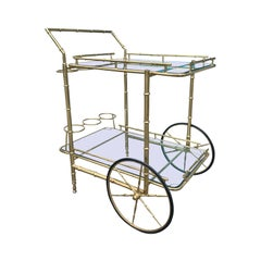 Italian Brass Faux Bamboo Bar Cart with Bottle Carriers, circa 1970s