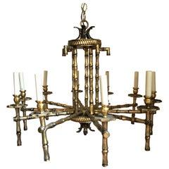 Italian Brass Faux Bamboo Chandelier