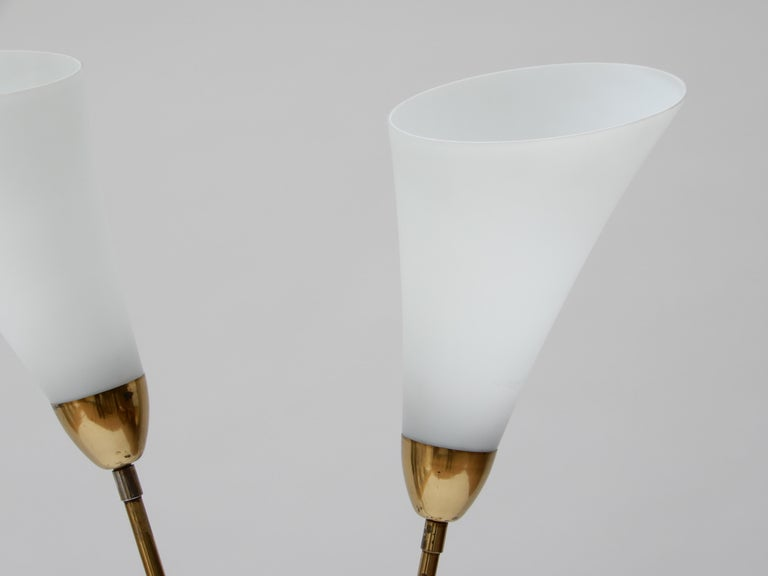 Mid-20th Century Italian Brass Floor Lamp with Two Opaline Glass Shades, 1950s For Sale