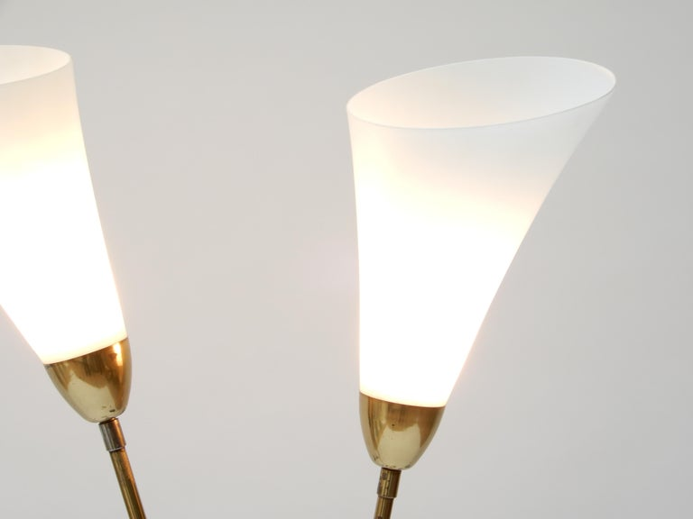 Italian Brass Floor Lamp with Two Opaline Glass Shades, 1950s For Sale 1