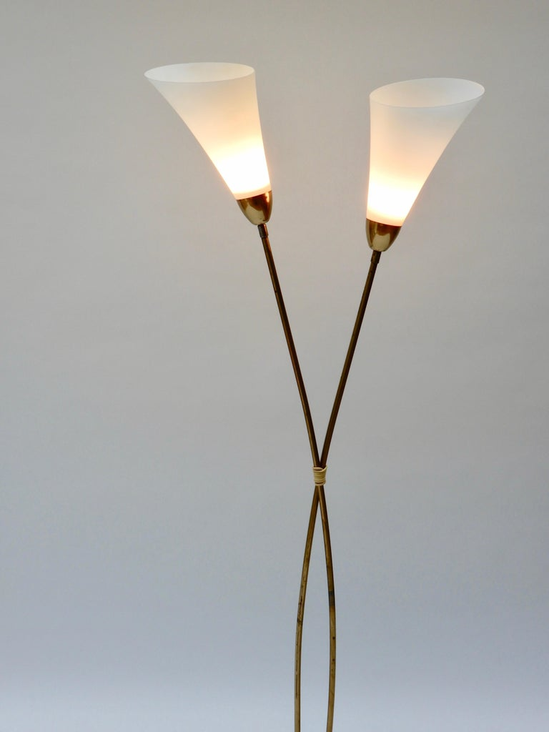 Italian Brass Floor Lamp with Two Opaline Glass Shades, 1950s For Sale 2