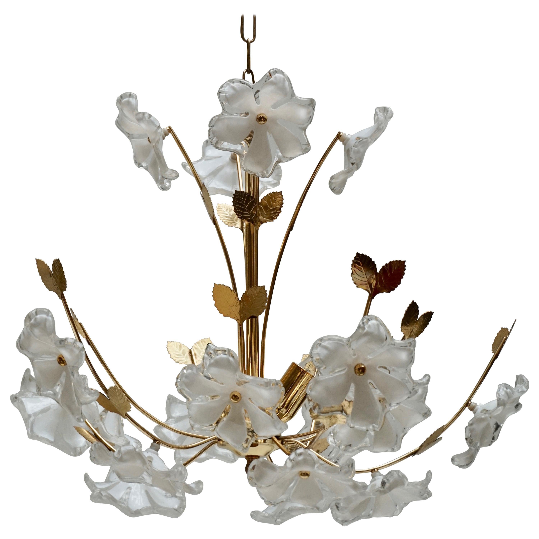 Italian Brass Flower Chandelier