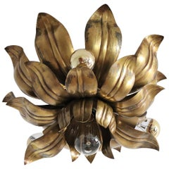 Italian Brass Flower Flush Mount or Ceiling Light in the Regency Style, 1970s