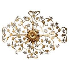 Italienischer Messing Kronleuchter mit Kristallblumen