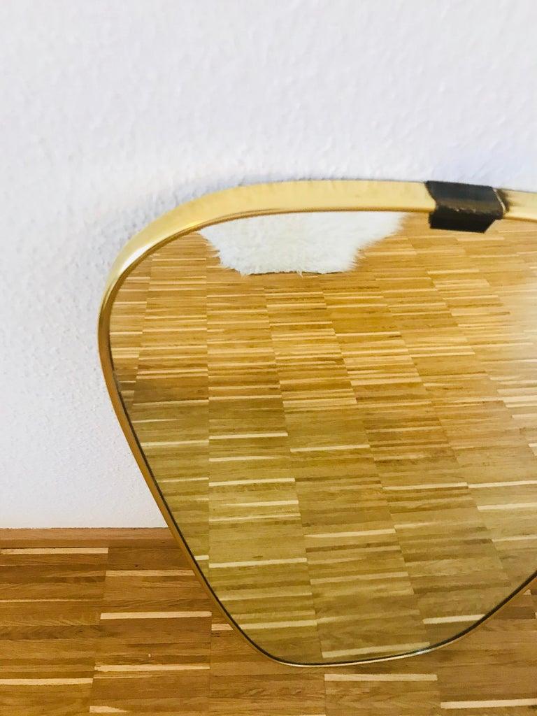 European Italian Brass Framed Asymmetrical Wall Mirror, 1960s, Italy For Sale