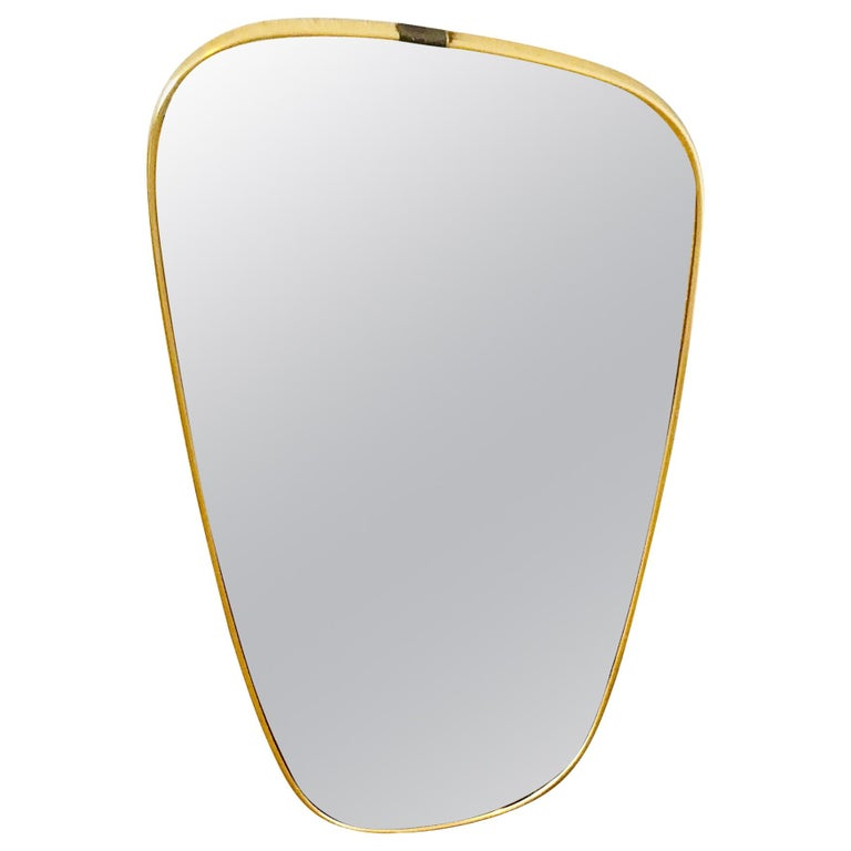 Italian Brass Framed Asymmetrical Wall Mirror, 1960s, Italy For Sale