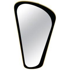 Italian Brass Framed Asymmetrical Wall Mirror, 1960s, Italy