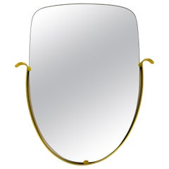 Italian Brass Framed Asymmetrical Wall Mirror, 1960s, Italy