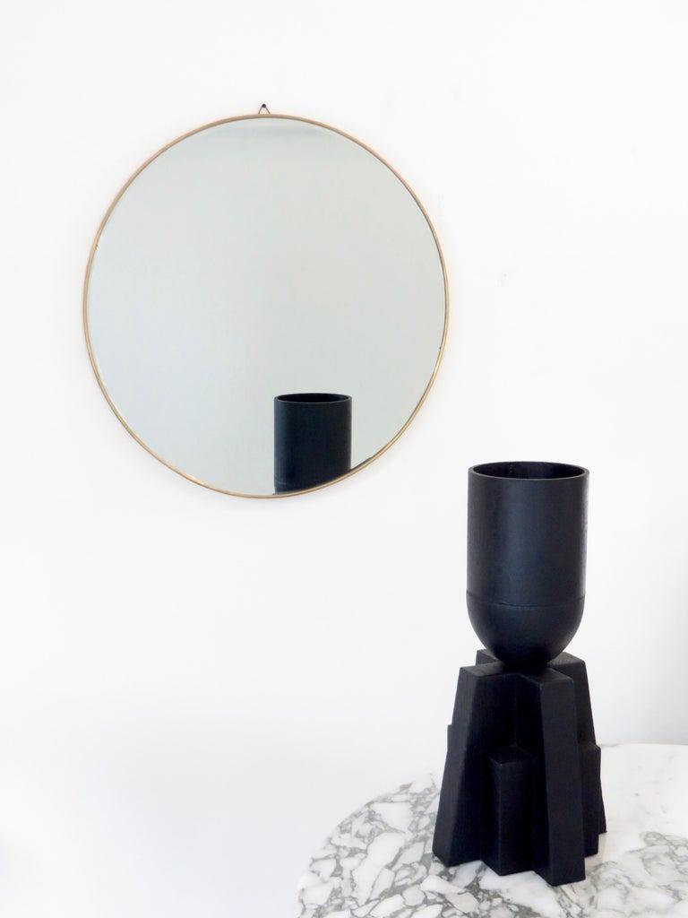 Mid-Century Modern Italian Brass Framed Vintage Round Mirror with Bevel