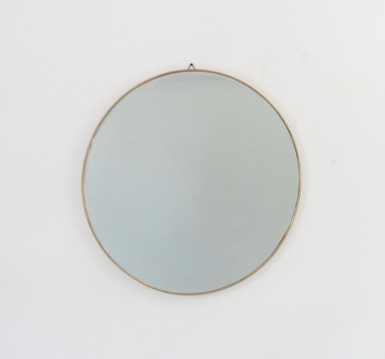 Italian Brass Framed Vintage Round Mirror with Bevel In Good Condition In Chicago, IL