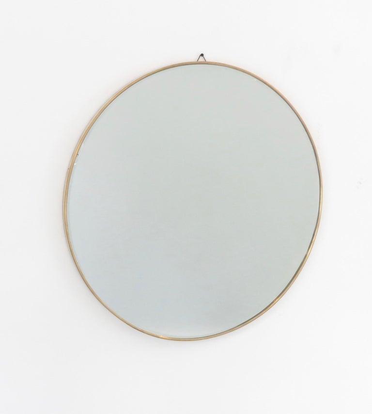 Mid-20th Century Italian Brass Framed Vintage Round Mirror with Bevel