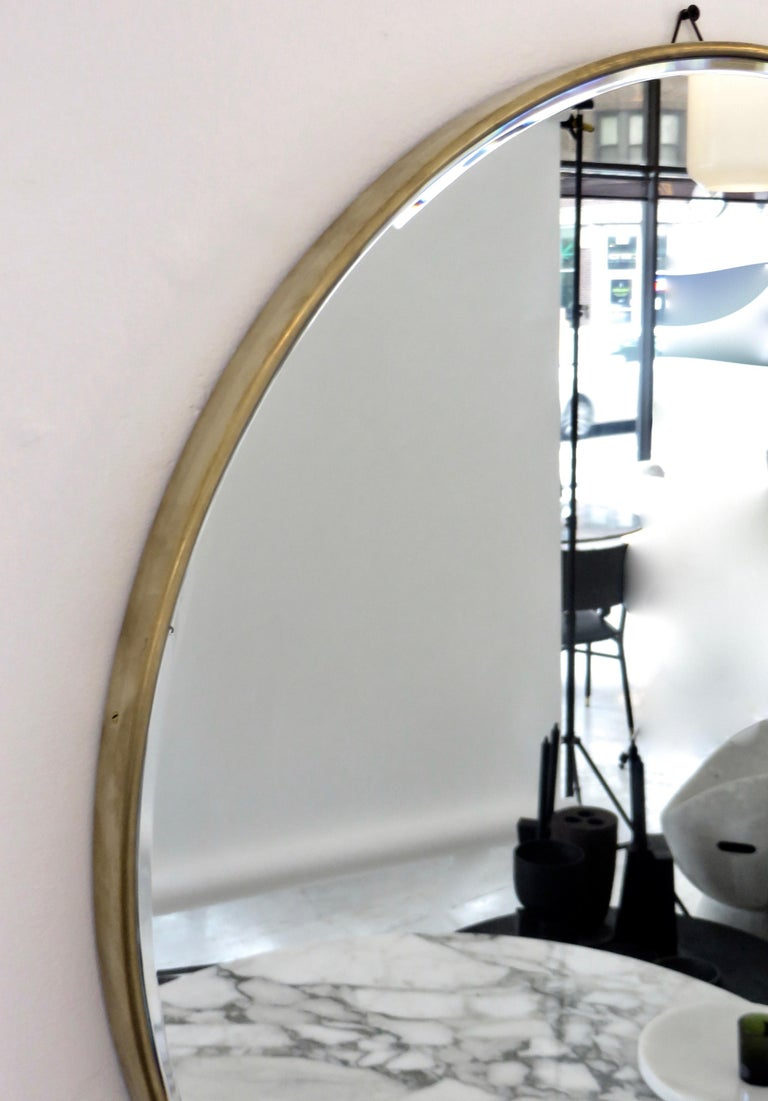 Italian Brass Framed Vintage Round Mirror with Bevel 1