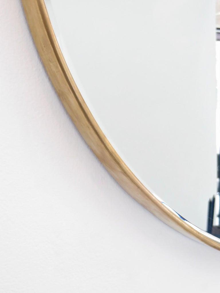 Italian Brass Framed Vintage Round Mirror with Bevel 4