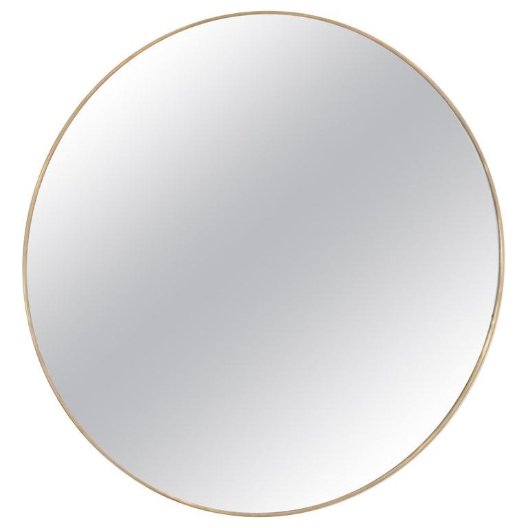 Italian Brass Framed Vintage Round Mirror with Bevel