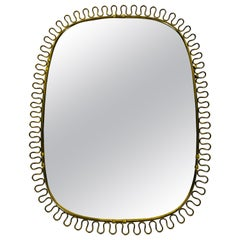 Italian Brass Framed Wall Mirror, 1960s, Italy