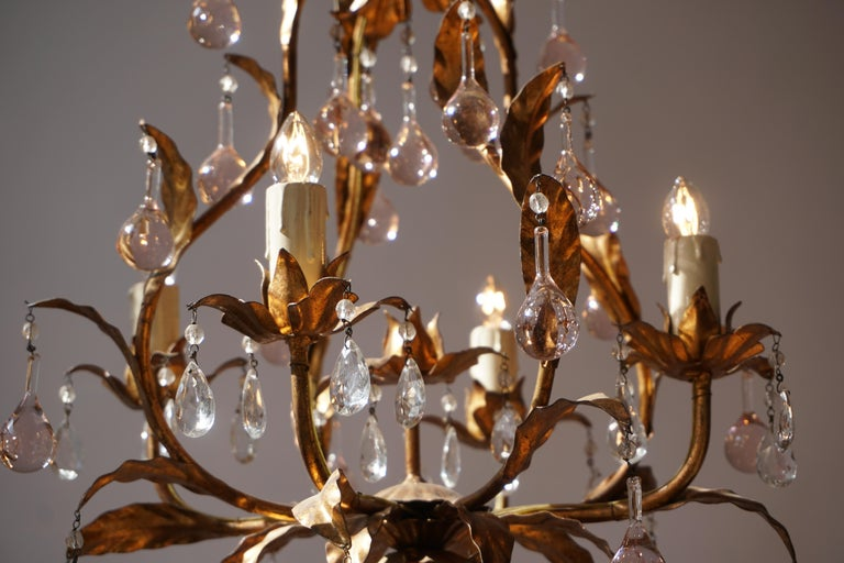 Italian Brass Gilt and Murano Glass Teardrop Chandelier For Sale 5