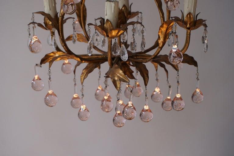 Italian Brass Gilt and Murano Glass Teardrop Chandelier For Sale 6
