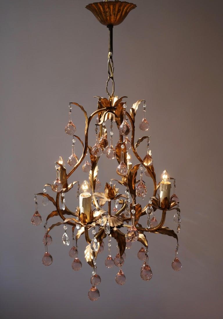 Hollywood Regency Italian Brass Gilt and Murano Glass Teardrop Chandelier For Sale