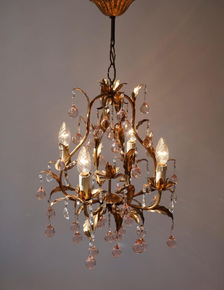 20th Century Italian Brass Gilt and Murano Glass Teardrop Chandelier For Sale