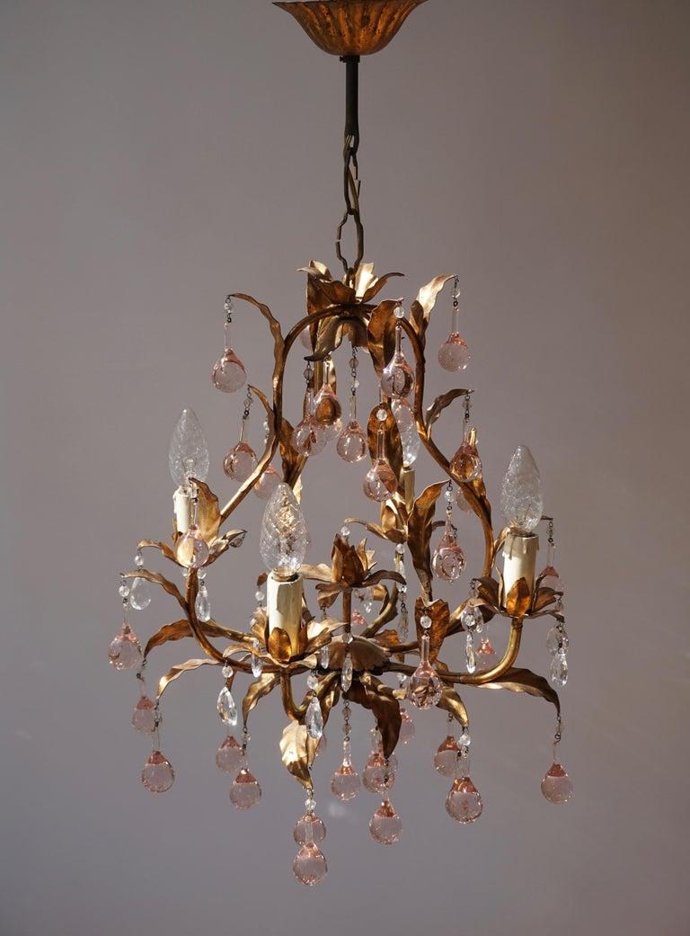 Italian Brass Gilt and Murano Glass Teardrop Chandelier For Sale 1
