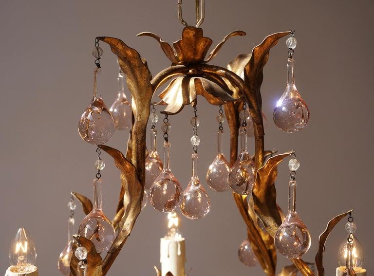 Italian Brass Gilt and Murano Glass Teardrop Chandelier For Sale 3