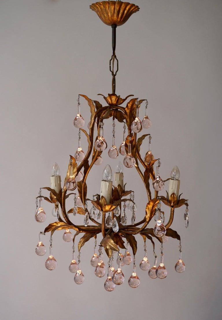 Italian Brass Gilt and Murano Glass Teardrop Chandelier For Sale 4