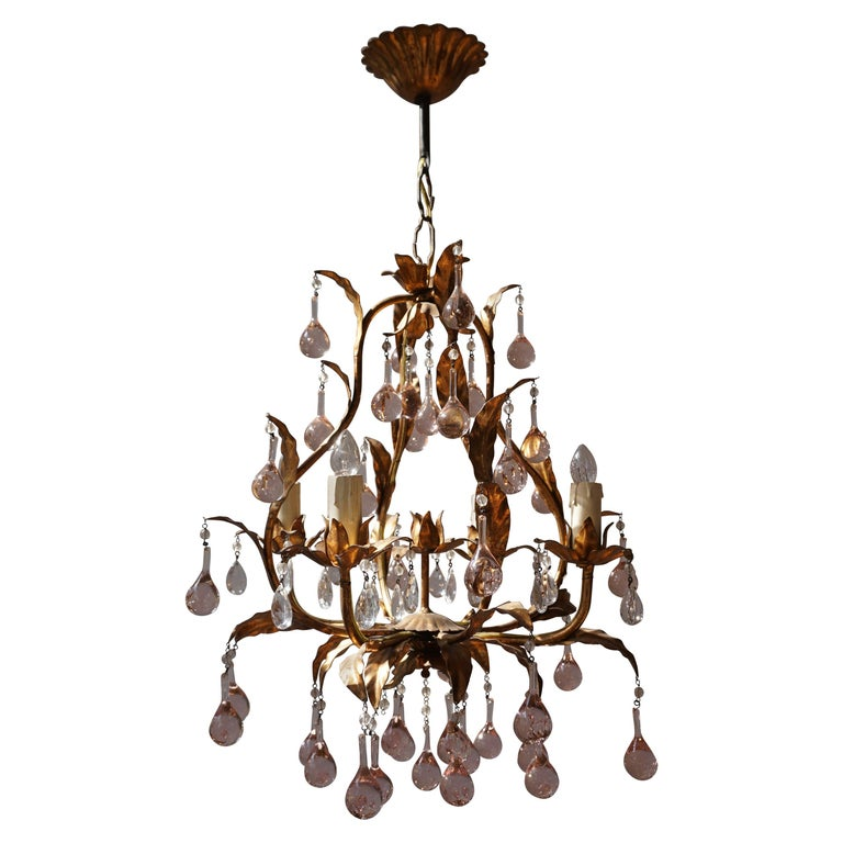Italian Brass Gilt and Murano Glass Teardrop Chandelier For Sale