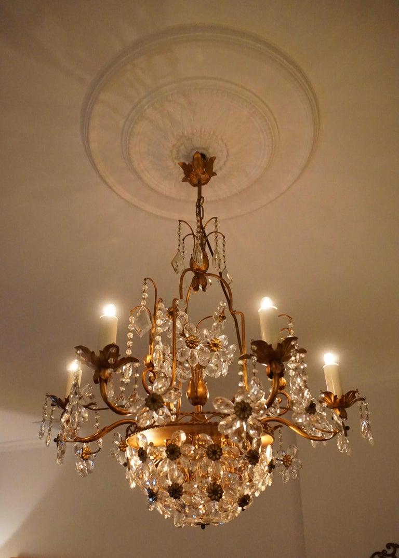 Hollywood Regency Italian Brass Gilt Chandelier with Glass Flowers For Sale