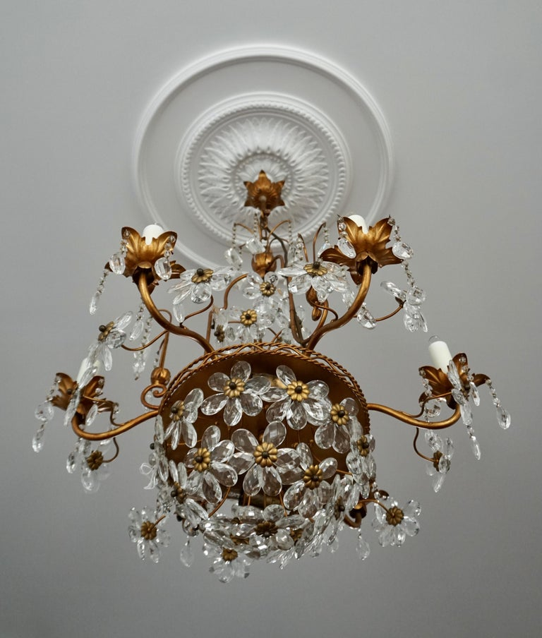 20th Century Italian Brass Gilt Chandelier with Glass Flowers For Sale