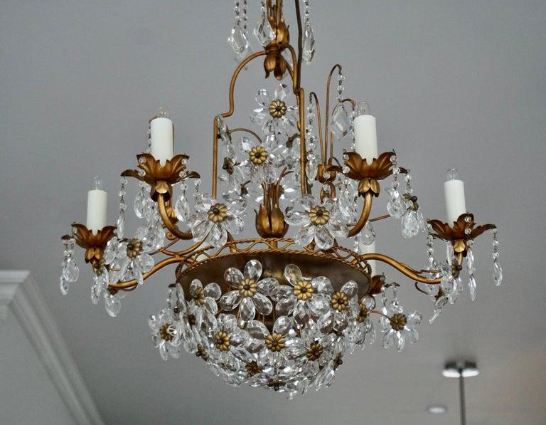 Italian Brass Gilt Chandelier with Glass Flowers For Sale 1