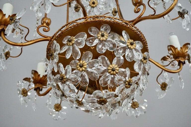 Italian Brass Gilt Chandelier with Glass Flowers For Sale 3