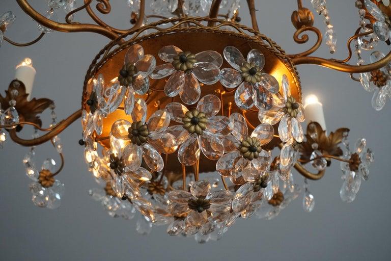 Italian Brass Gilt Chandelier with Glass Flowers For Sale 4