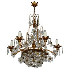 Italian Brass Gilt Chandelier with Glass Flowers
