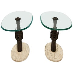 Italian Gothic Brass Glass and Marble Side or End Tables, Pair