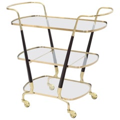 Italian Brass Glass & Wood 3-Tier Rolling Serving Bar Cart Mid-Century Modern