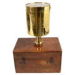 Italian Brass Land-Surveyor Instrument Made in 1860 with its Original Walnut Box