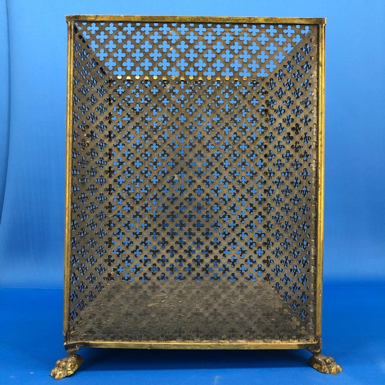 Italian Brass Lionhead Decorated Square Paper Waste Basket For Sale 6