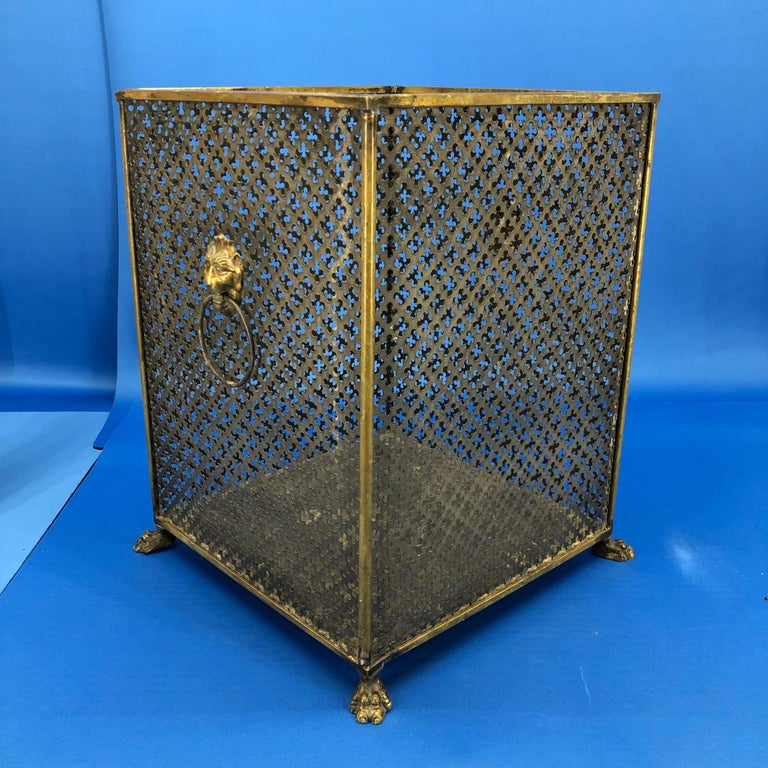 Italian Brass Lionhead Decorated Square Paper Waste Basket For Sale 4