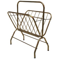 Italian Brass Magazine Rack with Chains on Both Sides and Central Handle, 1950
