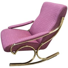 Italian Brass Metal Rocking Chair Upholstered with Dedar Fabric from 1960s