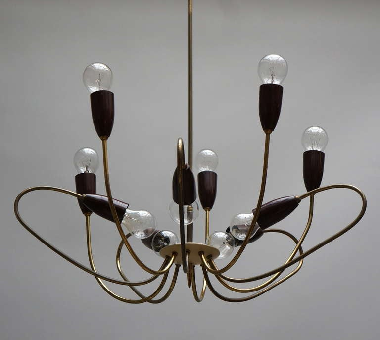 Mid-20th Century Italian Brass Midcentury Chandelier in the Style of Stilnovo For Sale