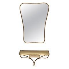 Italian Brass Midcentury Console and Mirror