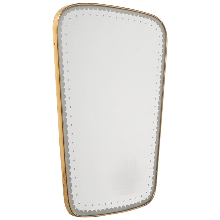 Italian brass mirror, 1950s, offered by mdrn