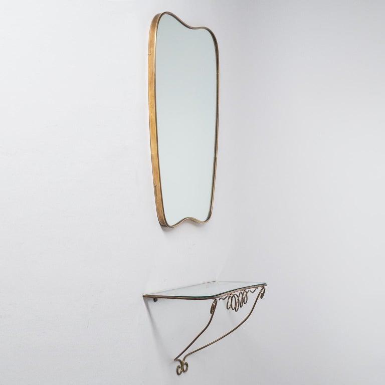 Italian Brass Mirror and Console, circa 1950 For Sale 5