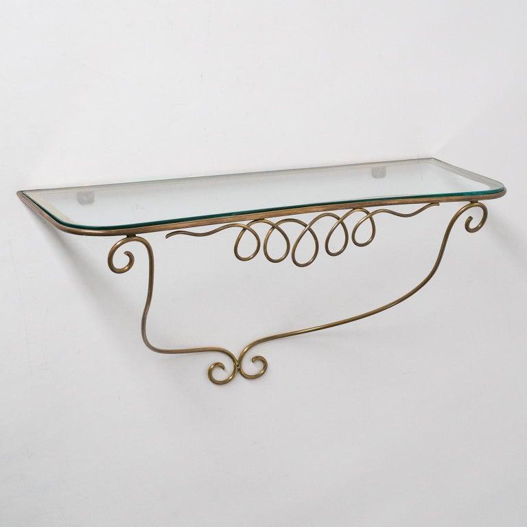 Italian Brass Mirror and Console, circa 1950 For Sale 6