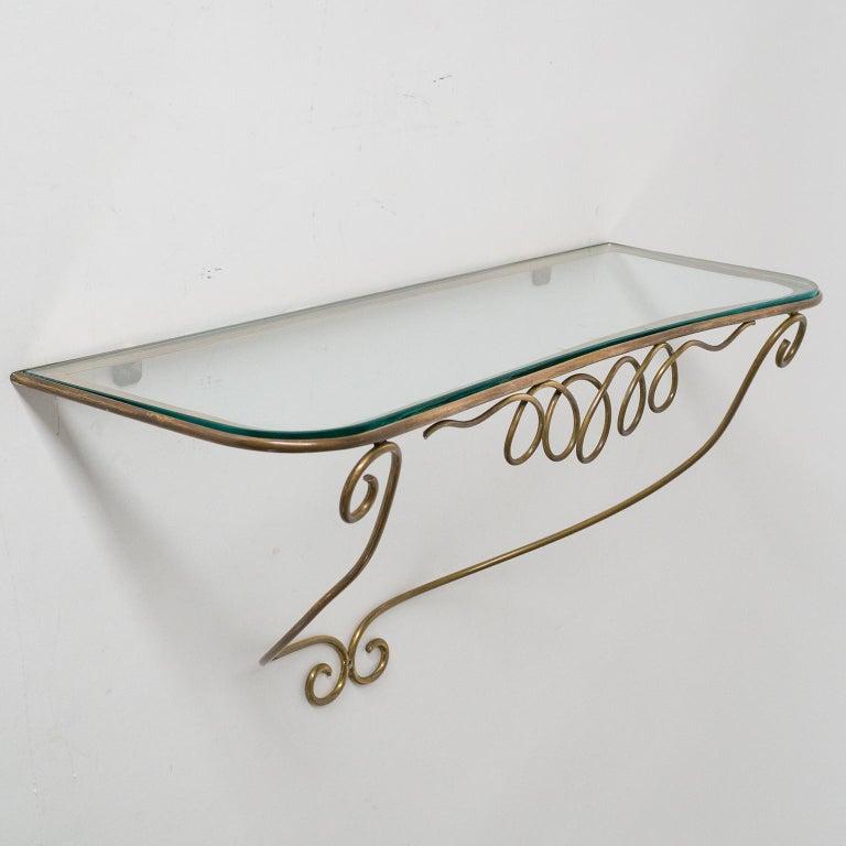 Italian Brass Mirror and Console, circa 1950 For Sale 9